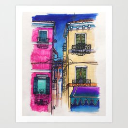 """Burano"" Drawing Art Print"
