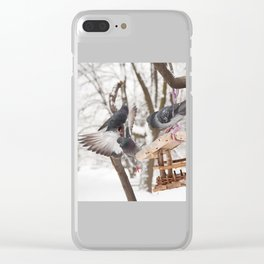 Three hungry pigeons on bird feeder Clear iPhone Case