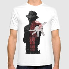 Tom Waits White Mens Fitted Tee LARGE