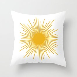 Mid Century Modern Sunburst Sun in Mustard and White Throw Pillow