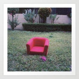 vintage red sofa Art Print