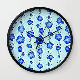 Baby Blue Wildflower Wall Clock