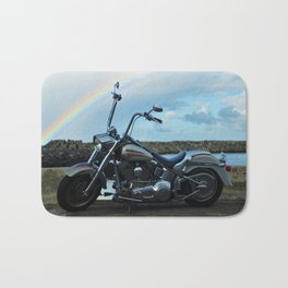 Motorcycle At The End Of The Rainbow Bath Mat