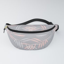 Palm leaves lace pattern on grey Fanny Pack