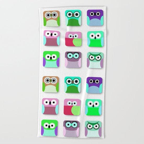 Cute Owl Pattern #2 Beach Towel