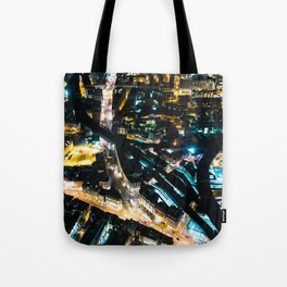 Aerial view of London illuminated at Night Tote Bag