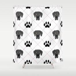 Black Great Dane Paw Print Pattern Shower Curtain