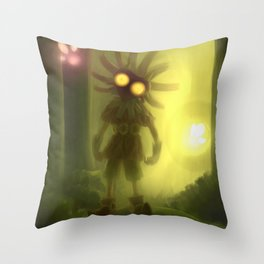 Skull kid in forest Throw Pillow