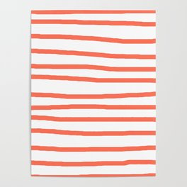 Simply Drawn Stripes in Deep Coral Poster