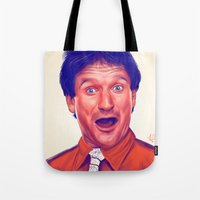 robin williams Tote Bags featuring Young Robin Williams  by Thubakabra