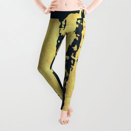 Conquer: a bold, pretty abstract piece in gold and midnight blue Leggings
