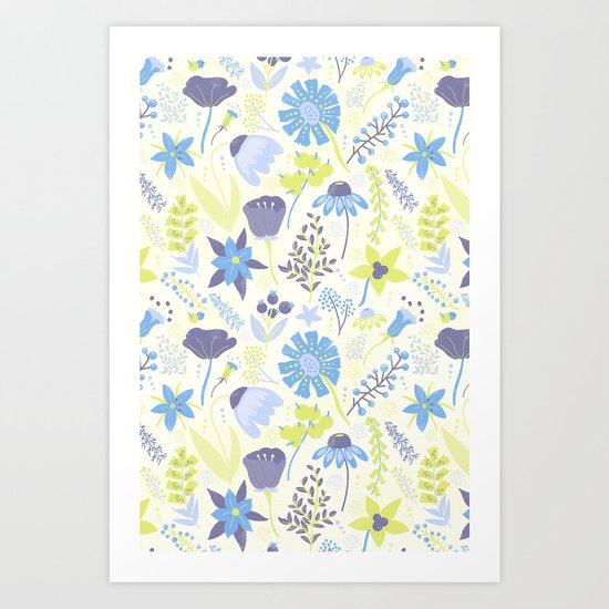Blue and Purple Wildflowers Art Print