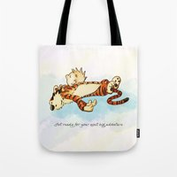 calvin and hobbes Tote Bags featuring Calvin Rests for Big Adventure by WimpyGeek Art