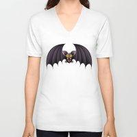cartoon V-neck T-shirts featuring Bat Cartoon by BluedarkArt