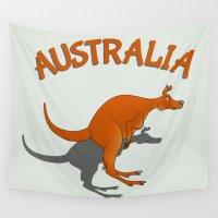 australia Wall Tapestries featuring Kangaroo Australia by mailboxdisco