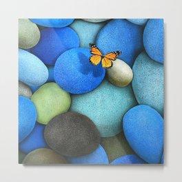 Butterfly on Blue Metal Print