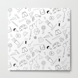 School pattern on white Metal Print