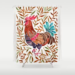 Le Coq – Watercolor Rooster with Sepia Leaves Shower Curtain