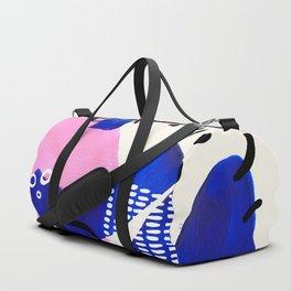 Fun Colorful Abstract Mid Century Minimalist Pastel Pink Royal Blue Organic Shapes Organic Pattern Duffle Bag
