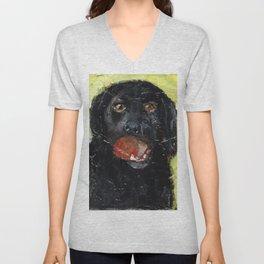 Dog with Red Ball Unisex V-Neck