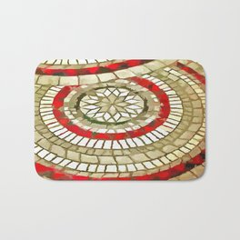 Mosaic Circular Pattern In Red and Gold Bath Mat