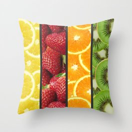 Colorful Fruit Grid Collage Throw Pillow