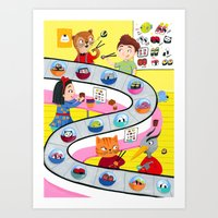 sushi Art Prints featuring Sushi by ilana exelby