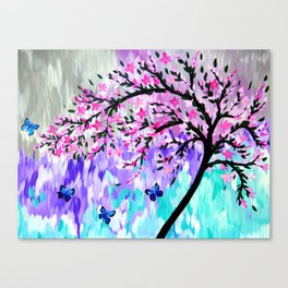 cherry blossom with Ulysses butterflies Canvas Print