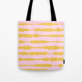 Macrame Stripes in Mustard Yellow and Light Pink Tote Bag