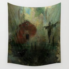 The crow and the Scarecrow Wall Tapestry