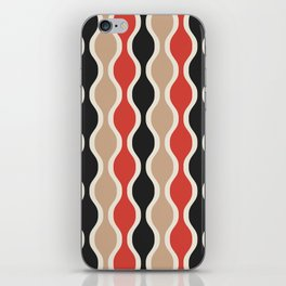 Ogee Pattern 742 Black Beige and Red iPhone Skin