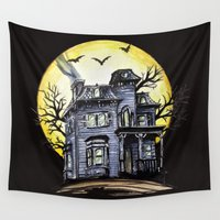 scary Wall Tapestries featuring Scary House by Patricia Pedroso