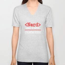 """Nerd and rockstar at the same time? You can be both with this """"Nerd Intellectual Rockstar Tee"""" Unisex V-Neck"""