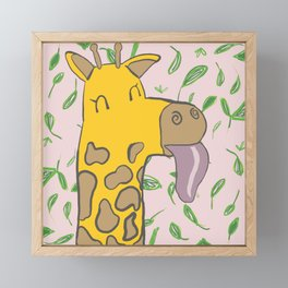 Giraffe with Tongue Out Framed Mini Art Print