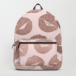 Girly Cute Artsy Rose Gold Hand Drawn Kiss Lips Backpack