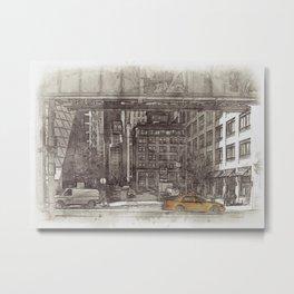NYC Yellow Cabs Fish Market - SKETCH Metal Print