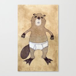 Animals in Underpants - Beaver Canvas Print
