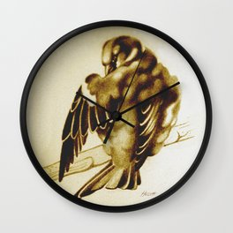 Sparrow Cleaning Wall Clock