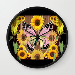 BLACK ABSTRACT PINK BUTTERFLY SUNFLOWER FLORAL Wall Clock