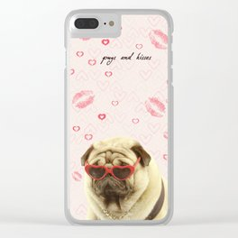 Pug face sunglasses,pugs and kisses Clear iPhone Case