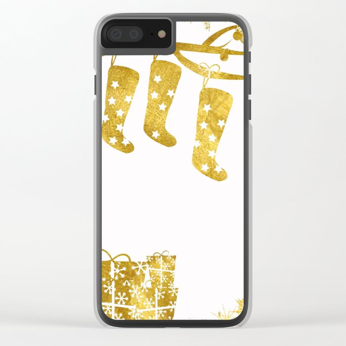 Gold Christmas 02 Clear iPhone Case
