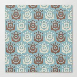 Mid Century Modern Retro Flower Pattern Blue and Brown 931 Canvas Print