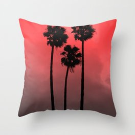 Red Fade Palm Trees Throw Pillow