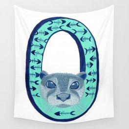 O is for Otter Letter Alphabet Decor Design Art Pattern Wall Tapestry
