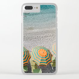 Umbrellas on the beach Clear iPhone Case