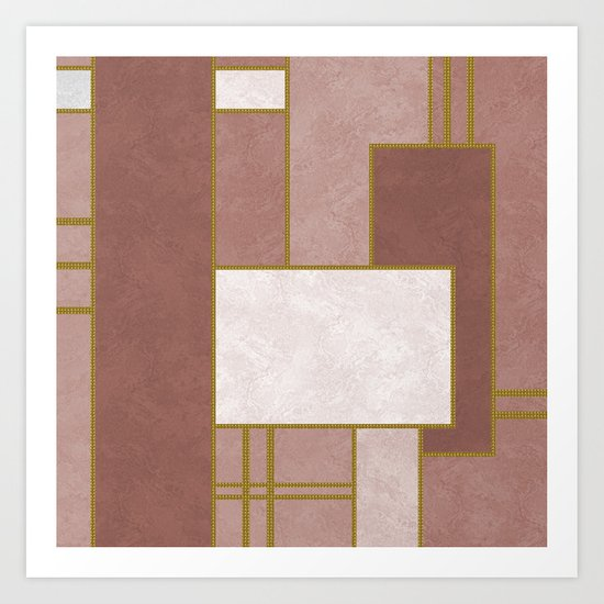 ABSTRACT GEOMETRIC 02 (marble) Art Print