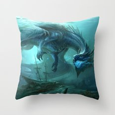 Blue Dragon v2 Throw Pillow