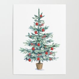 Christmas tree with red balls Poster