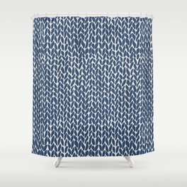 Hand Knit Navy Shower Curtain