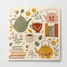 Flowery Books and Tea Metal Print